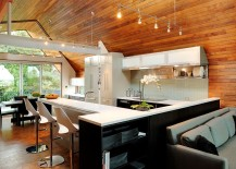 Aged Western Red Cedar ceiling gives the interior a cozy appeal