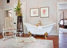 Amazing bathroom is the showstopper in this luxurious bathroom 217x155 Revitalized Luxury: 30 Soothing Shabby Chic Bathrooms
