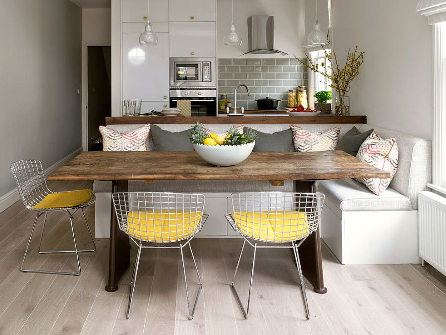 An easy way to add gray and yellow to the small dining room [Design: Amory Brown]