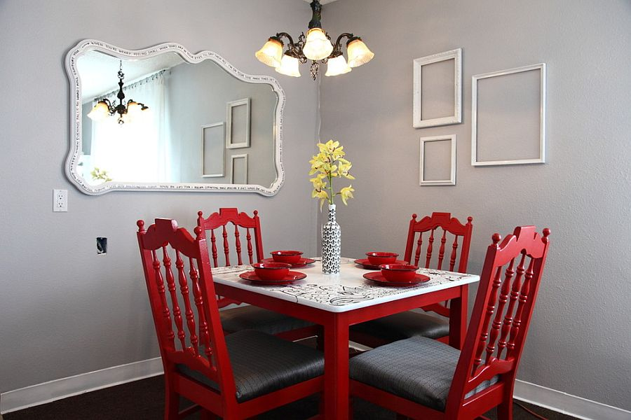 An infusion of red for the dining room with empty frames on the wall [Design: Kelly LaPlante]