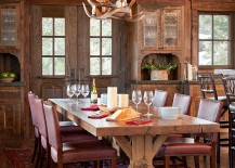 Antler chandelier for the spacious, rustic dining table