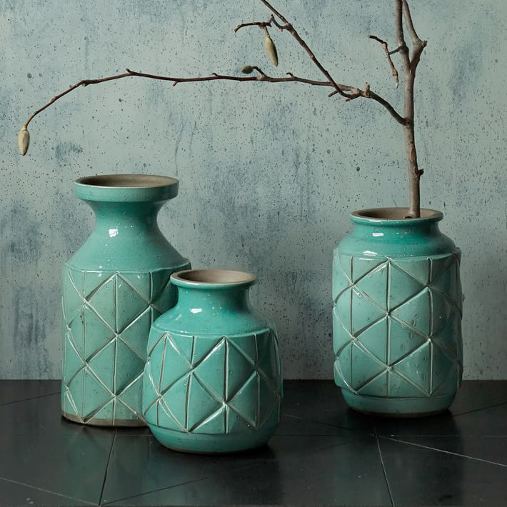 Aqua ceramic vases from West Elm