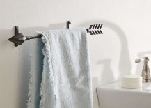 Arrow towel rack in a bathroom