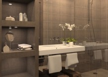 Bathroom with gray tiled shelving 217x155 15 Exquisite Bathrooms That Make Use of Open Storage