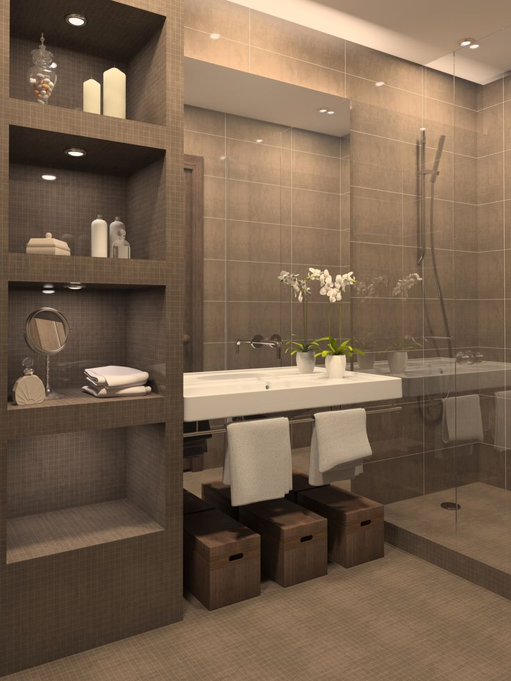 Bathroom with gray tiled shelving