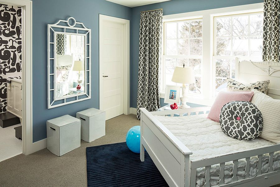 Beach style kids' room with bluish-gray walls [Design: Martha O'Hara Interiors]