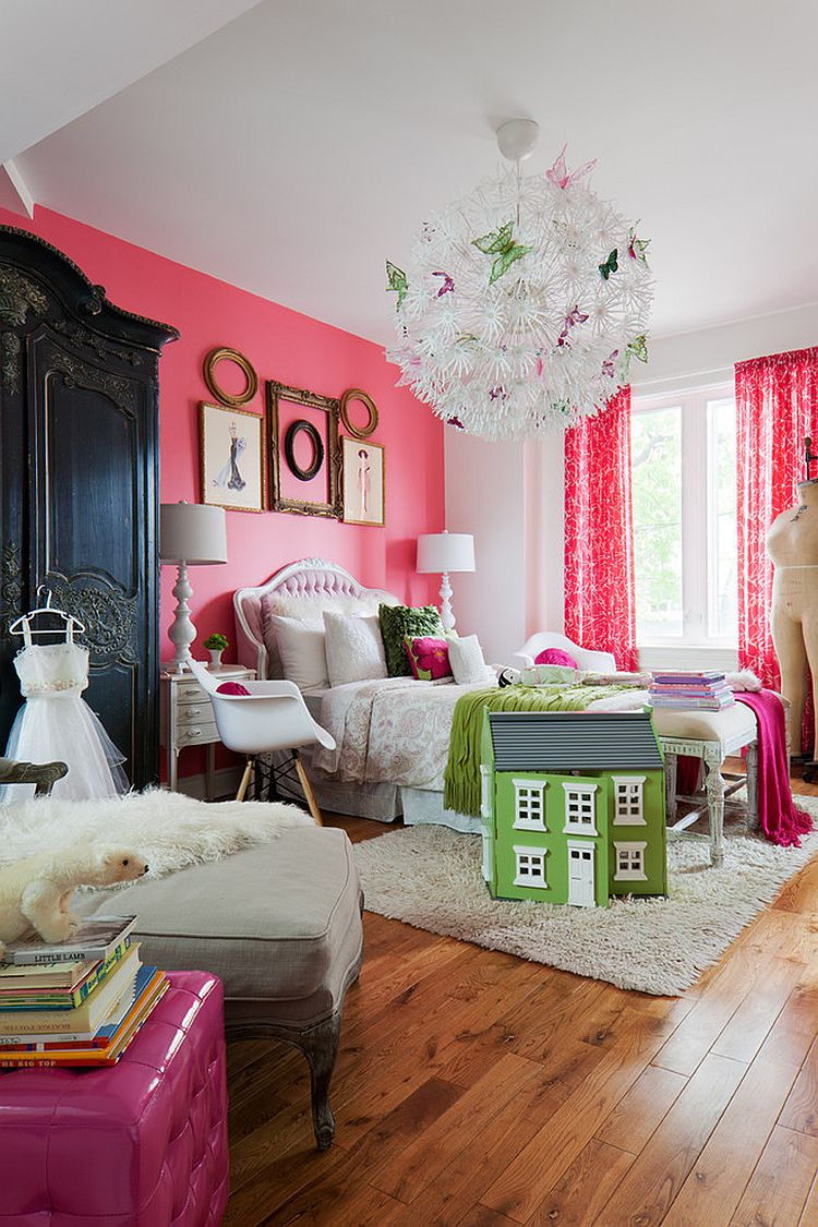 Beautiful girls' bedroom that is pretty in pink! [Design: Flik by design]