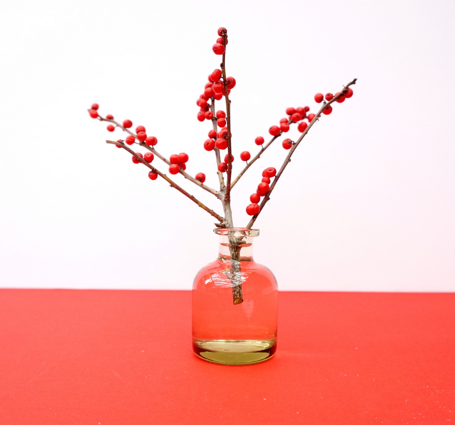 Berried branches in a small vase