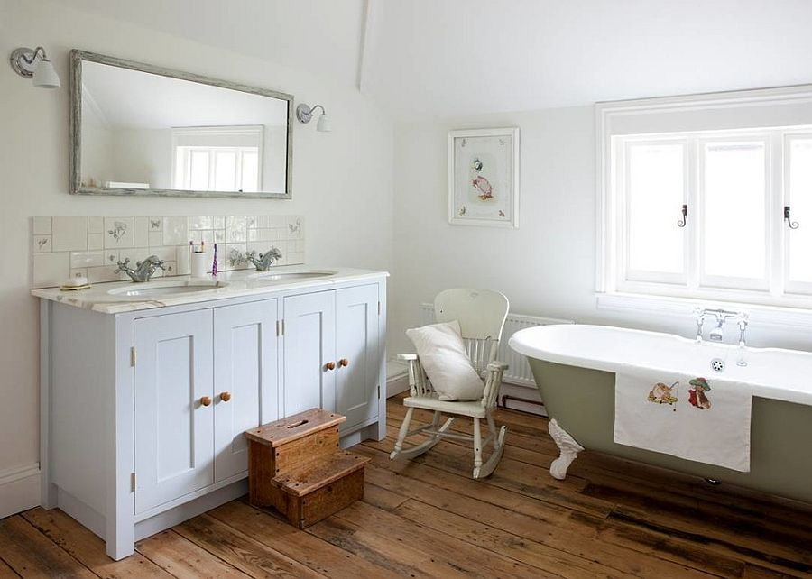 Bespoke vanity and colorful vintage tub inspiration