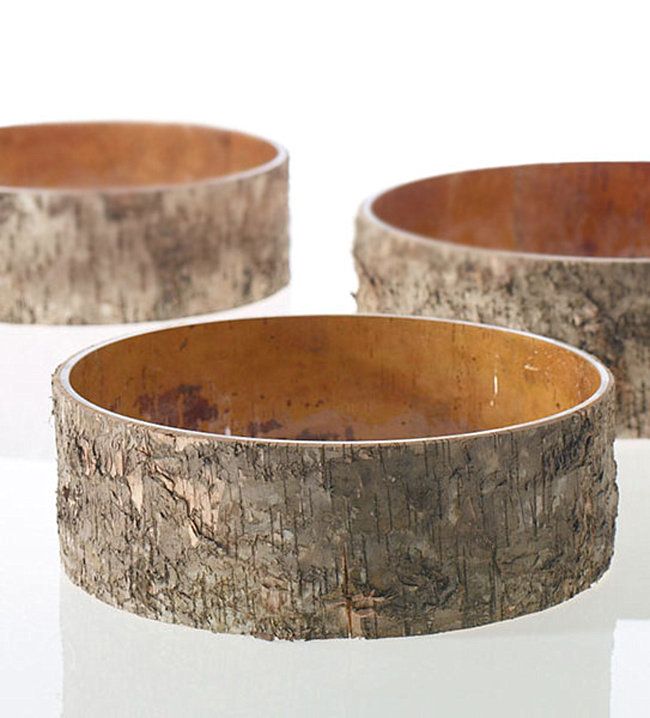 Birch bark-wrapped bowls from Etsy shop Fashion Silk Flowers