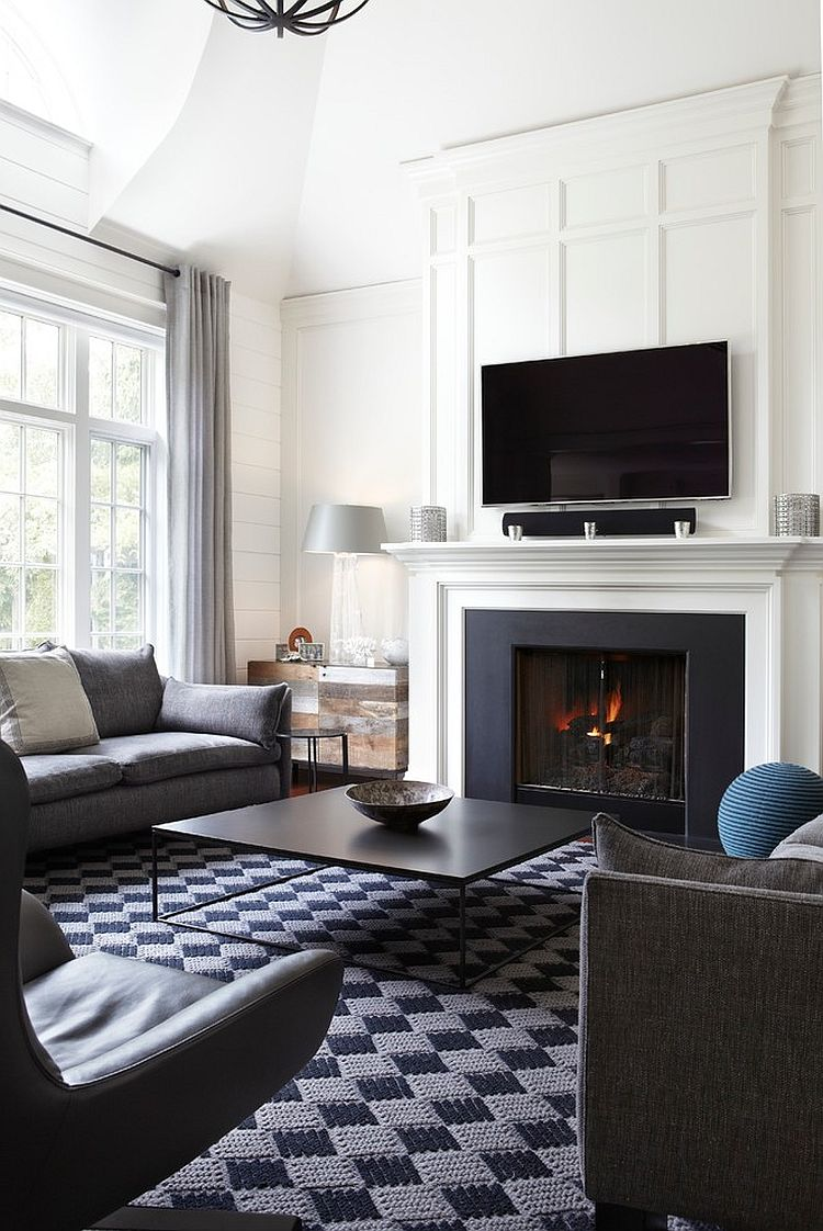 Black and white living room with transitional style [Design: Strickland Mateljan]