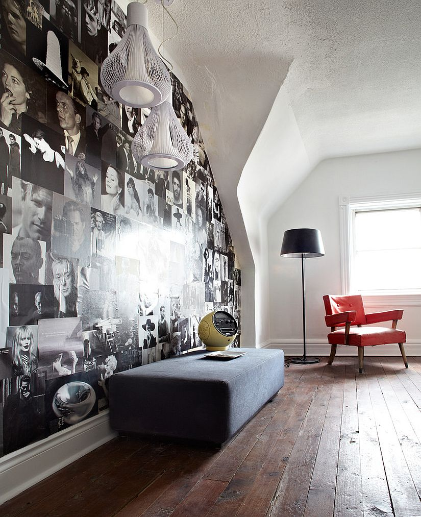 Black and white magazine photos create a stunning accent wall inside the contemporary guest room [Design: Stephane Chamard]