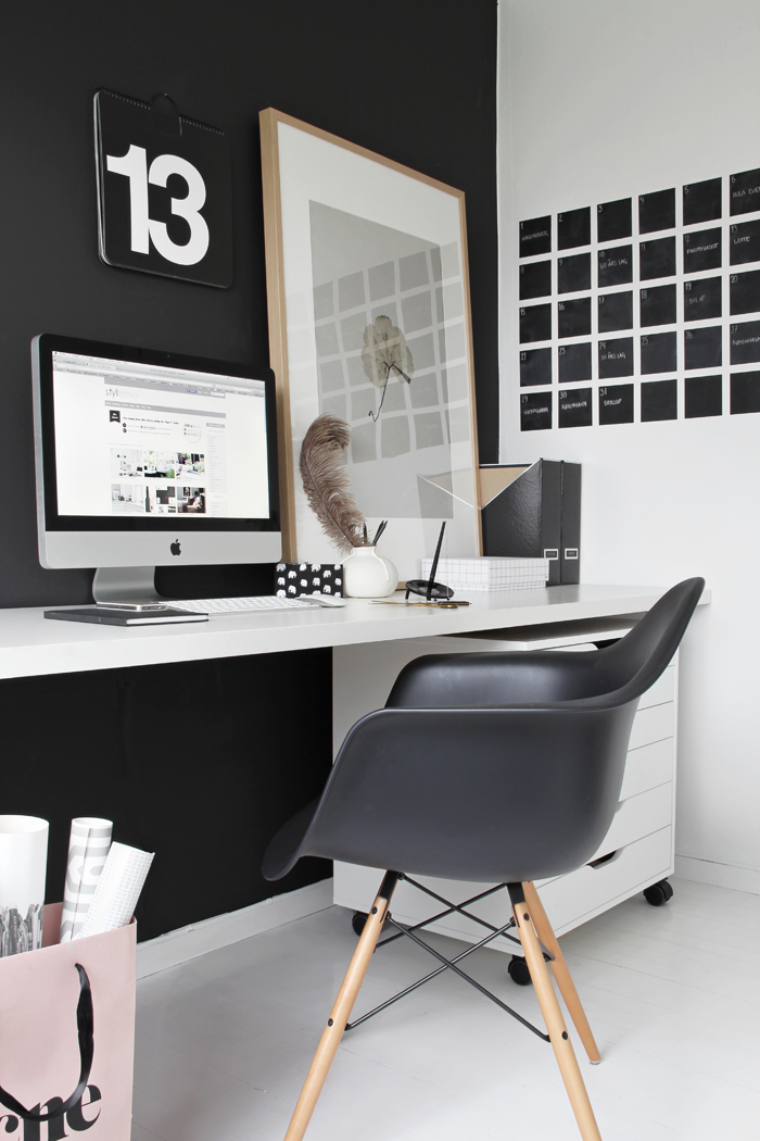 Black and white office with individual calendar day chalkboard decals
