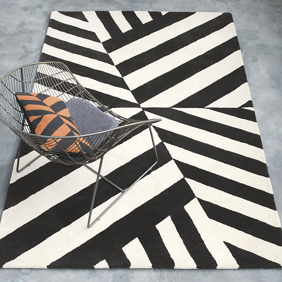 Black and white striped rug from CB2