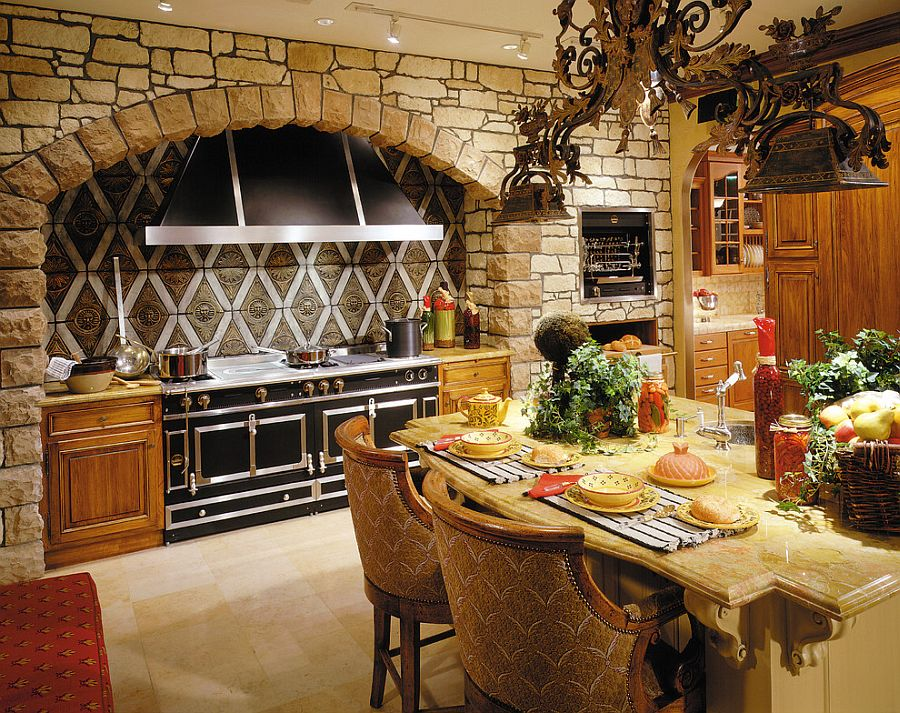 30 inventive kitchens with stone walls for Kitchen cabinets lowes with old world metal wall art