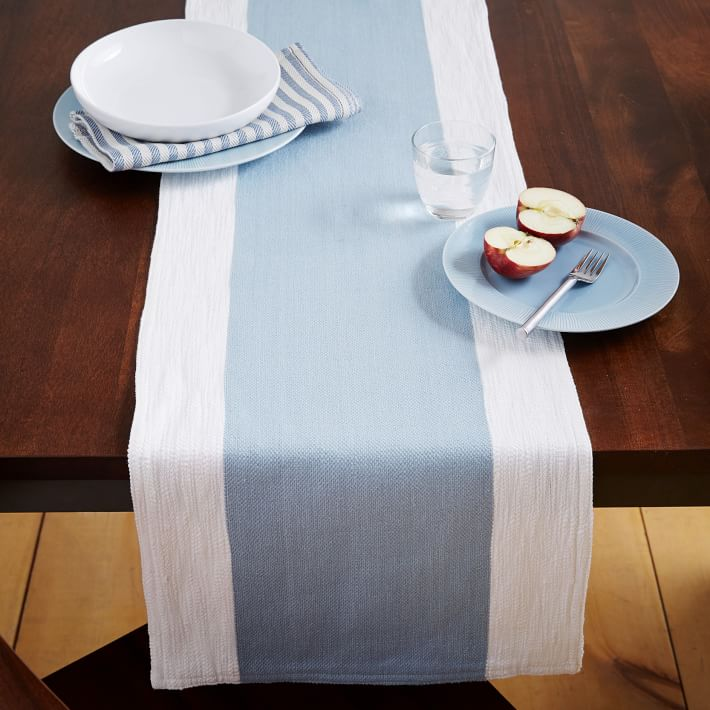 Blue and white dining table runner from West Elm