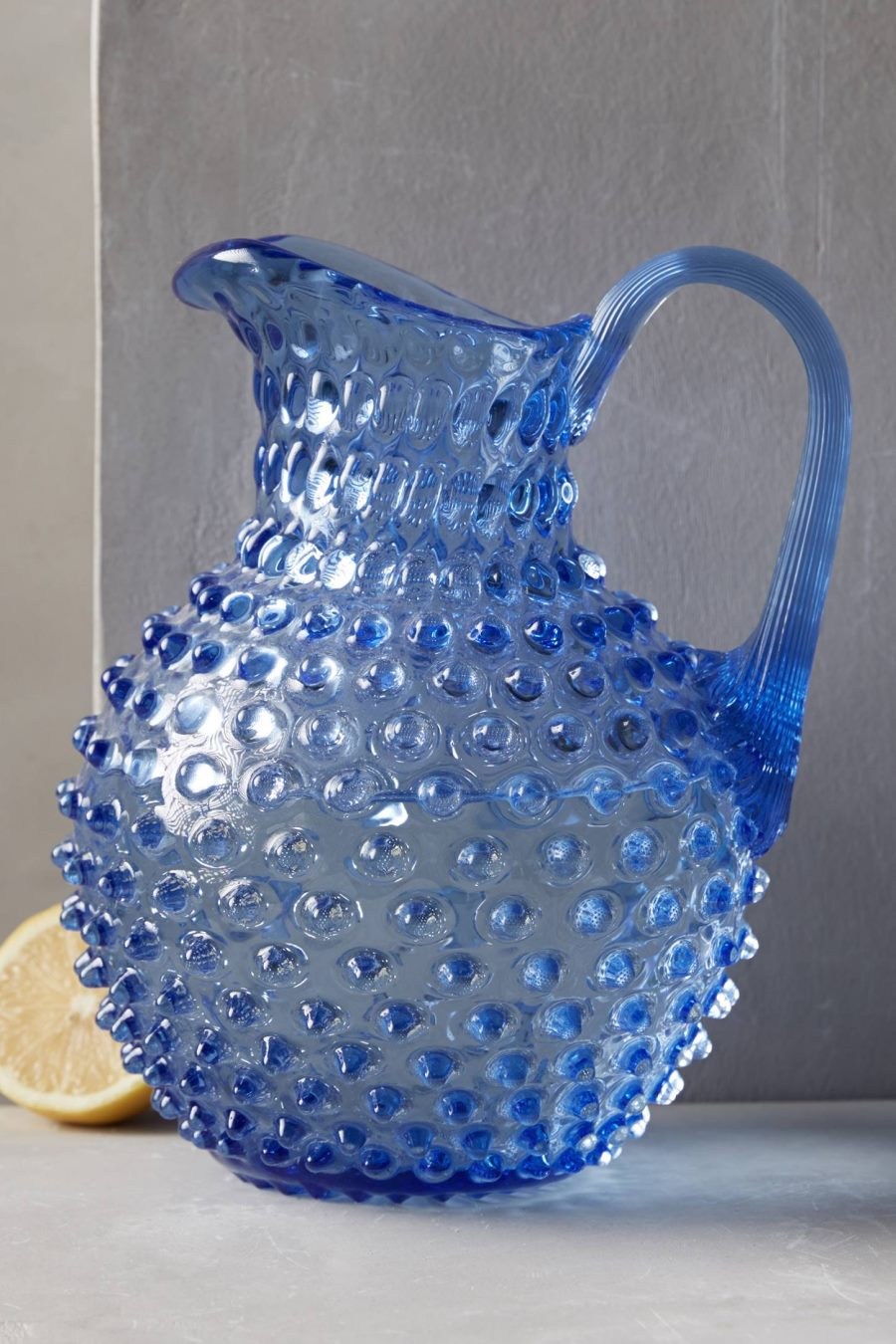Blue hobnail pitcher from Anthropologie