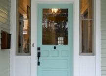 Blue salvaged wood door