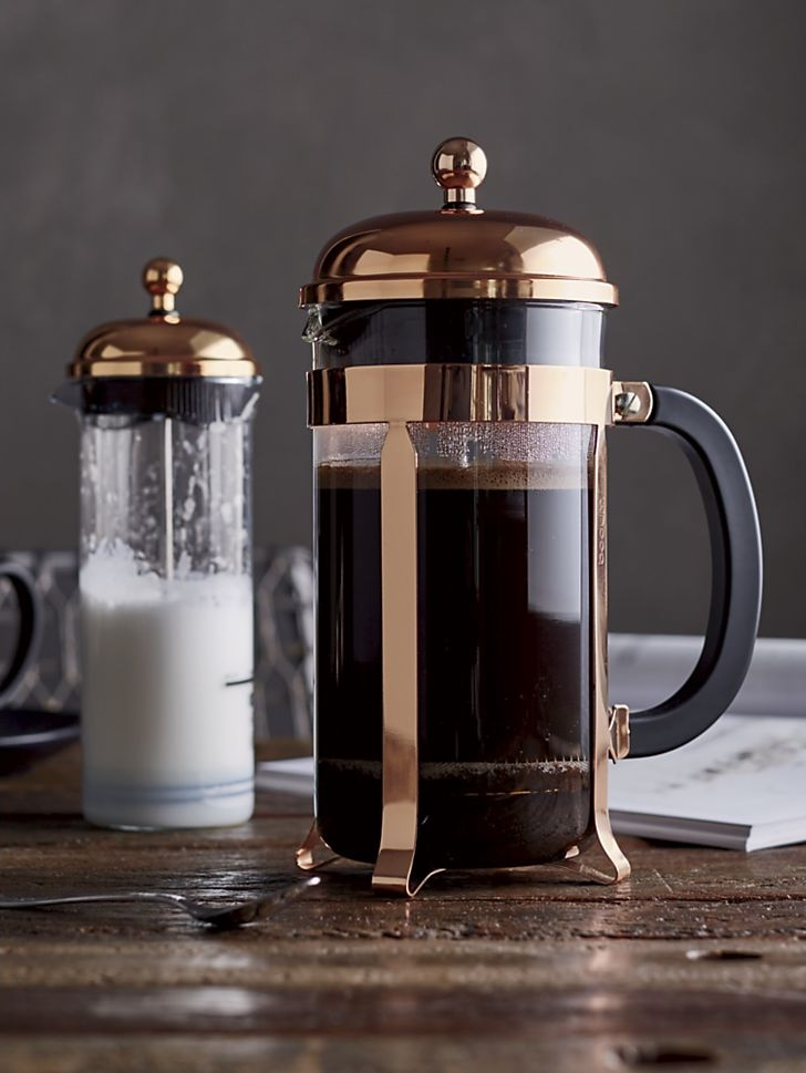 Bodum coffee press and milk frother from Crate & Barrel