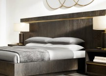 Brass and metal platform bed from RH Modern