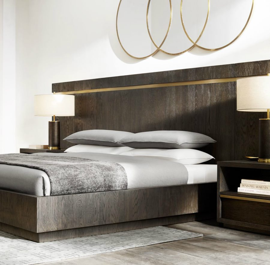 Brass and metal platform bed from rh modern decoist Modern platform beds
