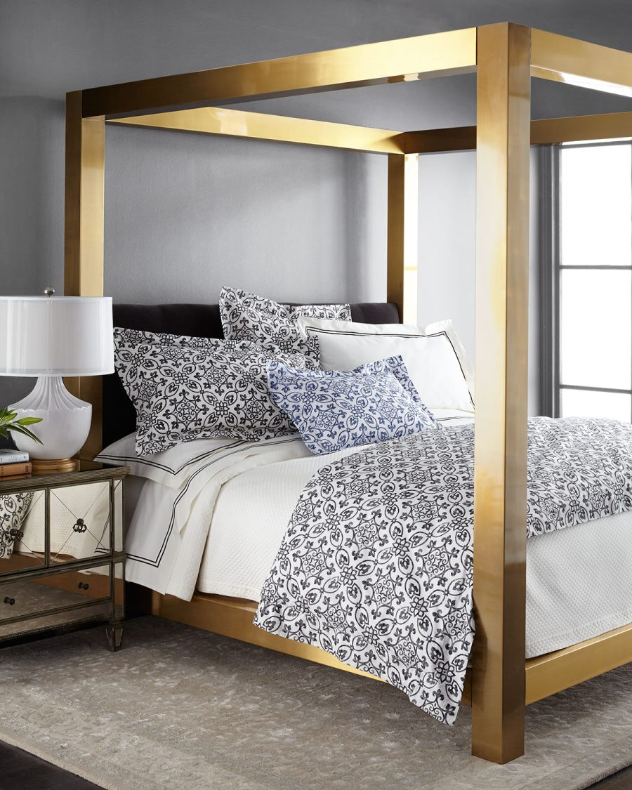 Brass-finish canopy bed from Bernhardt