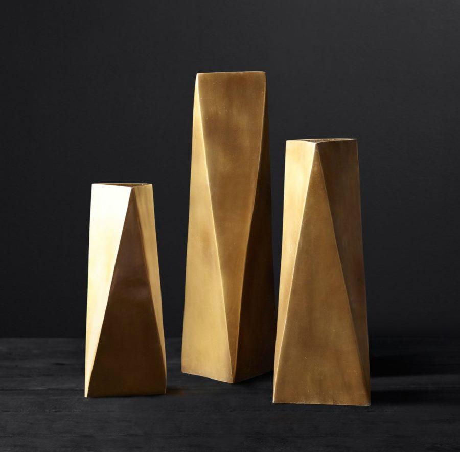 Brass geometric vases from RH Modern
