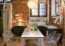 Brick wall in the kitchen becomes a part of the dining room visual