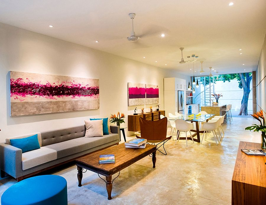 Bright pops of color give the living area a distinct personality