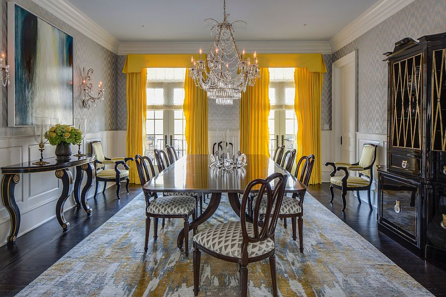 Bright yellow drapes make a bold statement in the all gray dining room [Design: Marks & Frantz Interior Design]