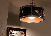 Ceiling lamp with a drum for the shade