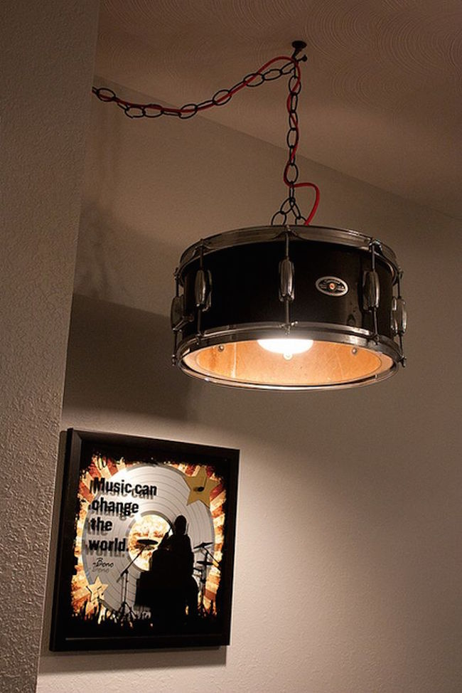 fabulous drum pendant light fixtures living room | 12 Creative Uses of Old Drums Throughout the Home