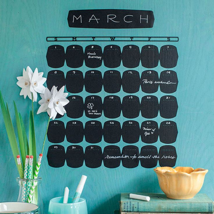 Chalkboard calendar that's easy to change every month