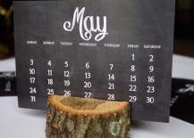 Chalkboard-style-calendar-printout-with-tree-trunk-holder-217x155