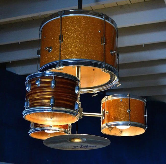 Chandelier made from a complete drum kit