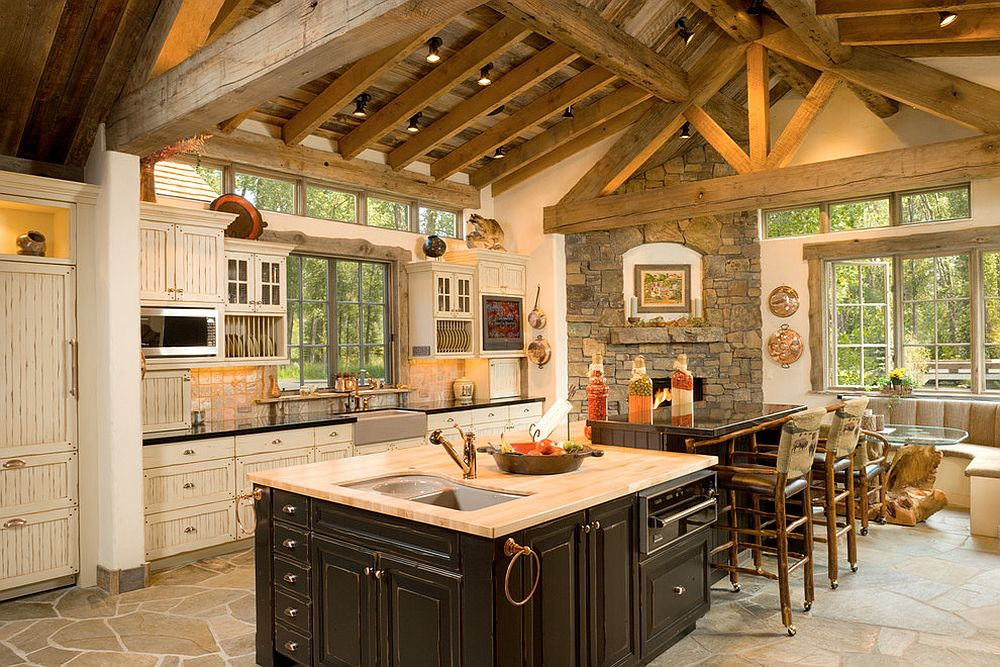 Charming rustic kitchen in timber and stone