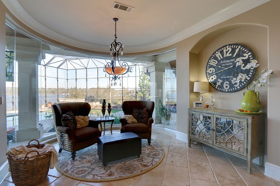 Charming sunroom of Gulfport home with curved glass wall