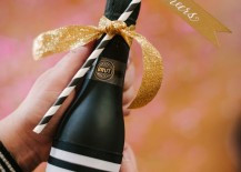 Chic bottle of alcohol for New Year's Eve party favors