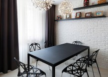 Classy contemporary decor standsout in this small dining space