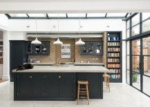 Clean straight lines give the industrial kitchen a modern feel [Design: deVOL Kitchens]