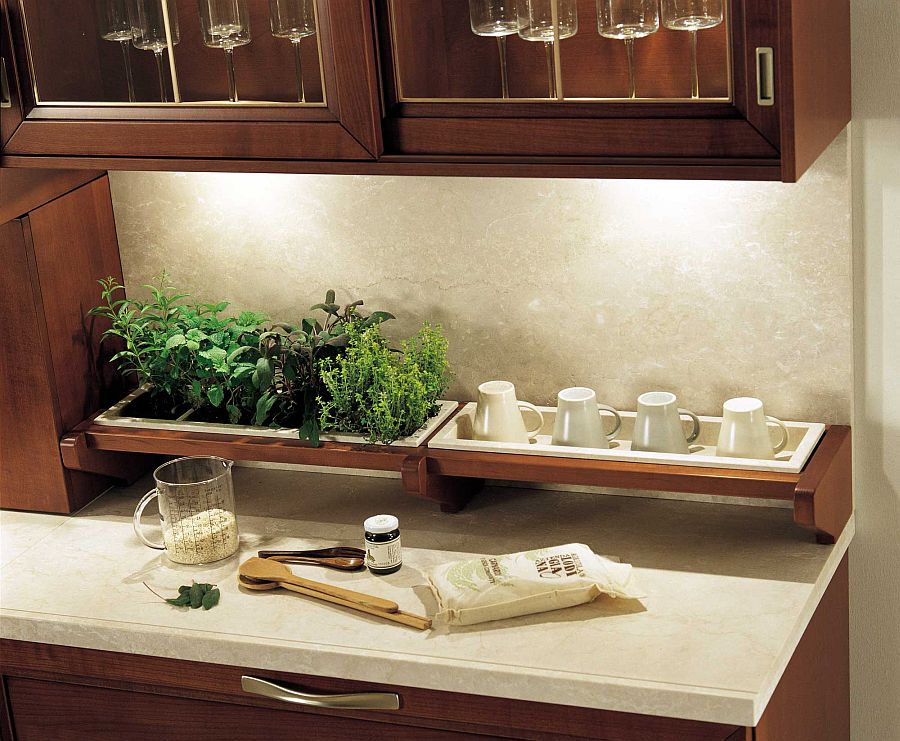 Clever under-cabinet lighting illuminates the worktop