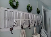 Coat rack made from an old shutter 217x155 7 Inspiring Ways to Use Vintage Shutters on Your Walls