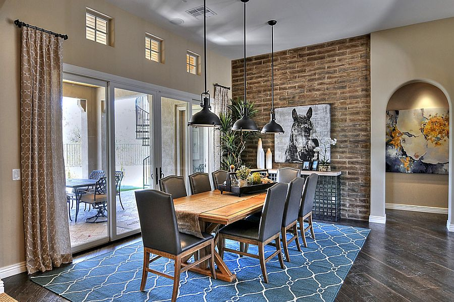 the brick dining room | Color and pattern of the rug enliven the exposed brick ...