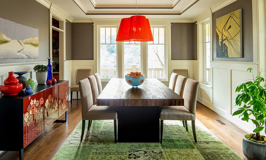 Colorful way to anchor the eclectic dining room [Design: Jason Ball Interiors]