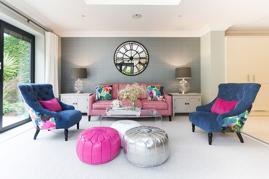 20 classy and cheerful pink living rooms for Interior decoration living room roof