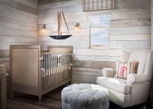 Comfy nursery with woodsy walls and budget decorations