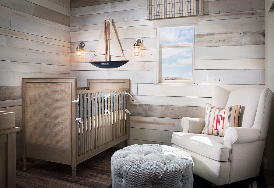 Comfy nursery with woodsy walls and budget decorations [Design: Style On a Shoestring]
