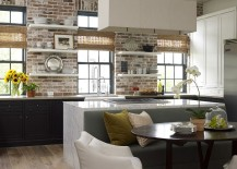 Concrete, Carrera marble and brick come together in the beautiful kitchen