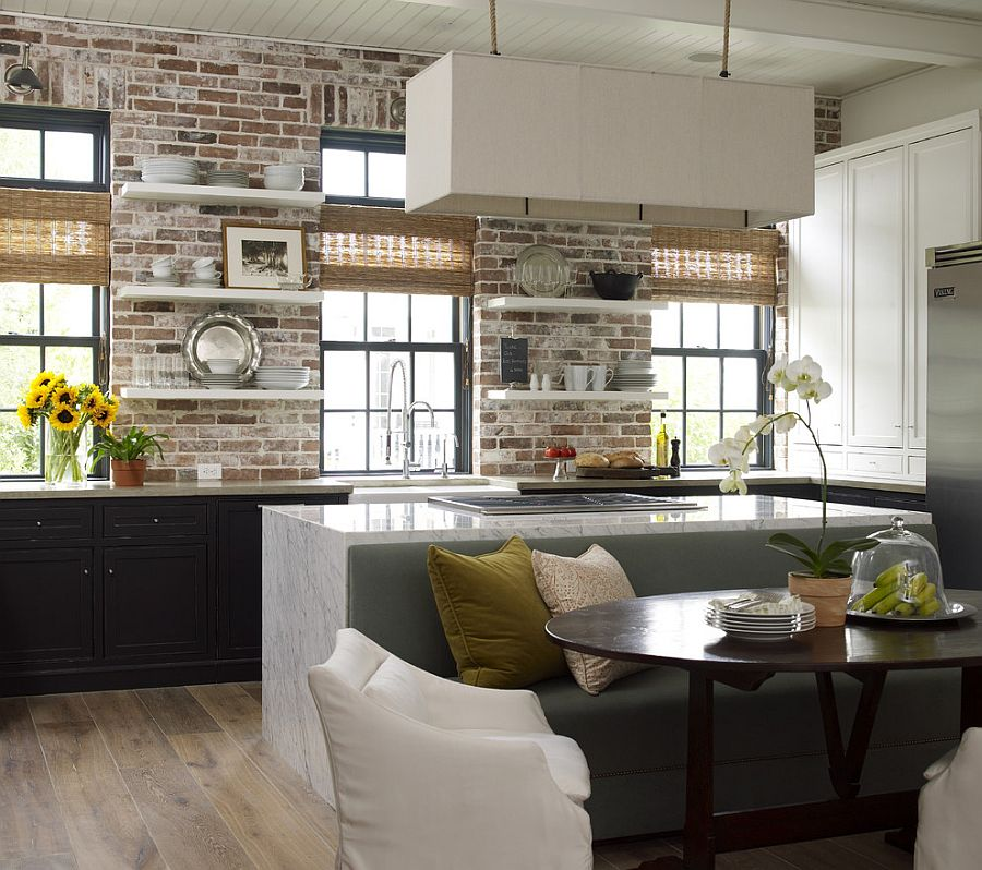 ... Carrera Marble And Brick Come Together In The Beautiful Kitchen  [Design: Kevin