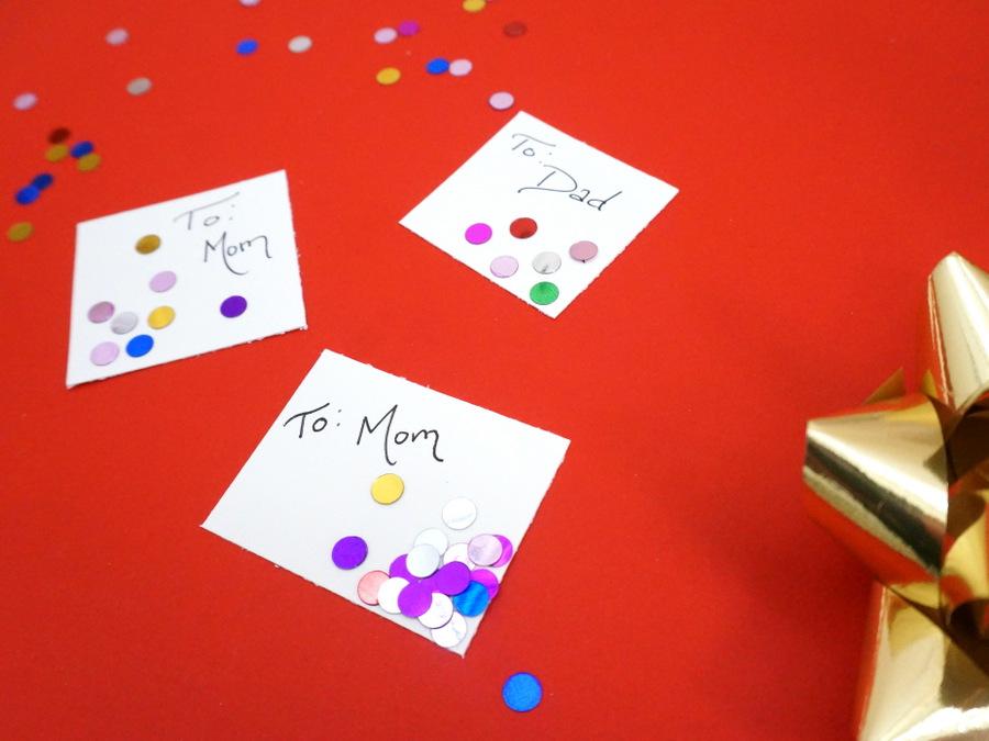 Confetti gift tag DIY